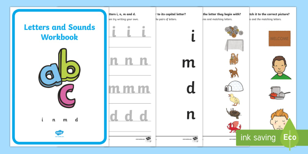 Precursive Letters and Sounds Workbook (i, n, m, d)
