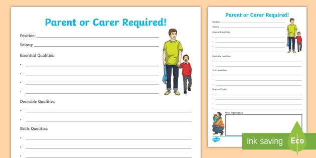 job advertisement for a parent carer worksheet activity sheet. Black Bedroom Furniture Sets. Home Design Ideas