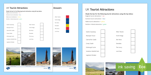 UK Tourist Attractions Worksheet / Activity Sheet - Geography Club, tourism, UK, tourist, industry