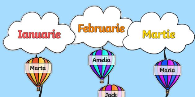 """Zilele de naștere cu tema """"Baloane de aer cald"""" - Pachet cu materiale editabile"""