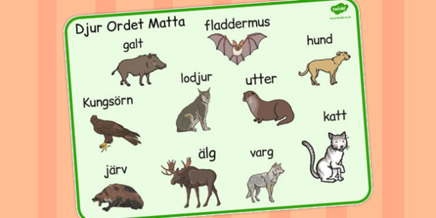 Swedish Animals Word Mat - swedish, animals, word mat, mat, word