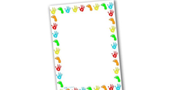 Handprint and Footprint Page Borders-handprint, footprint, page borders, writing frame, themed page borders, borders, themed writing frames