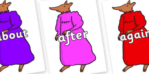 KS1 Keywords on Mrs Fox to Support Teaching on Fantastic Mr Fox - KS1, CLL, Communication language and literacy, Display, Key words, high frequency words, foundation stage literacy, DfES Letters and Sounds, Letters and Sounds, spelling