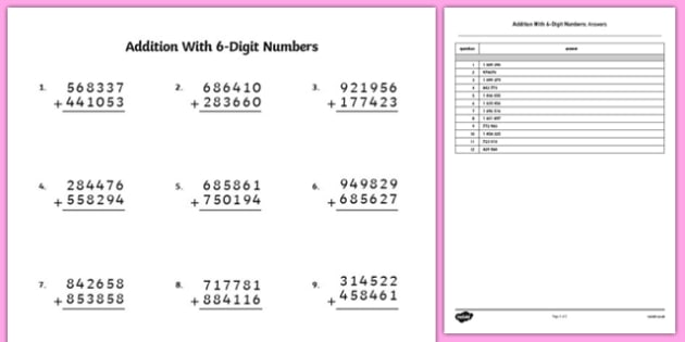 Addition with 6 Digit Numbers Worksheet / Activity Sheet - bigger numbers, hundred thousands, addition, activity, worksheet