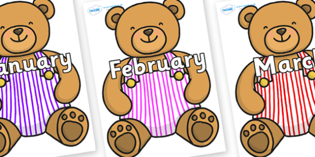 Months of the Year on Dungaree Teddy - Months of the Year, Months poster, Months display, display, poster, frieze, Months, month, January, February, March, April, May, June, July, August, September