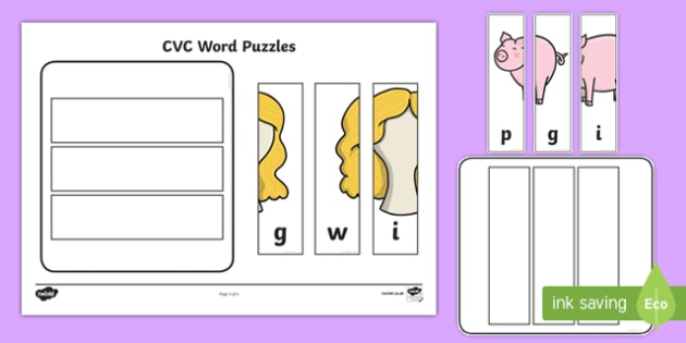Workstation Pack: CVC (i) Words Puzzles Activity Pack