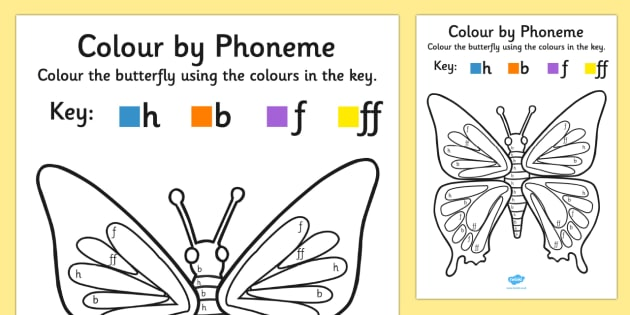 Colour by Phoneme Butterfly Phase 2 h b f ff - phoneme, phase 2