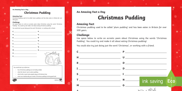 Amazing Fact a Day KS2 Countdown to Christmas Day 18 Pudding Acrostic Activity Sheet - Amazing Fact Of The Day, activity sheets, powerpoint, starter, morning activity, December, Christmas