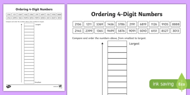Place Value Ordering 4-Digit Numbers Worksheet