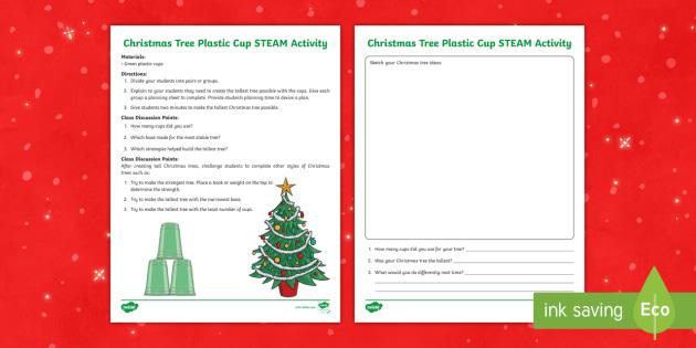 Christmas Stem Challenges.Christmas Tree Plastic Cup Steam Activity Christmas Stem