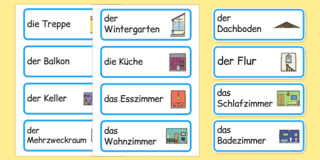 die Teile eines Hauses Word Cards German - german, parts, house, parts of a house, word cards, word, cards