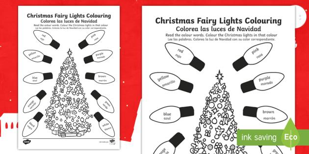 Editable Christmas Fairy Lights Colouring Page English Spanish