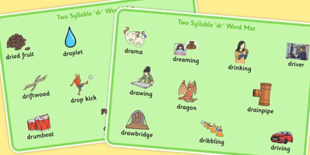 Two Syllable DR Word Mats - two syllable, dr, word mats, word, mats, dr sound