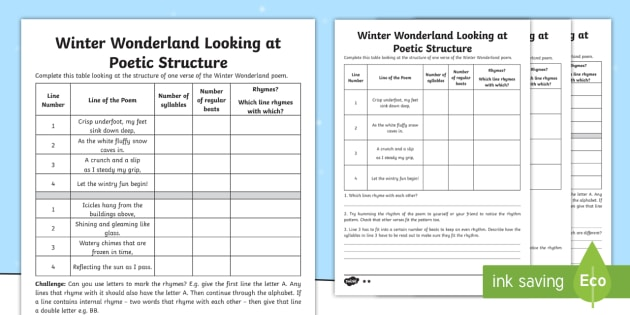Ks2 Winter Wonderland Poetic Structure Differentiated Worksheet Worksheet The quickest way to learn is with the help of a professional poetry editor. twinkl
