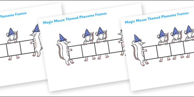 Magic Mice Phoneme Frames - Phoneme Frames printable, Magic Mice, magic, wizard, witch, phoneme frame, phoneme, phonemes, Segmenting, DfES Letters and Sounds, Letters and sounds, KS1 Literacy, Phase one, Phase 1, Phase two, Phase 2, Phase three, Phas