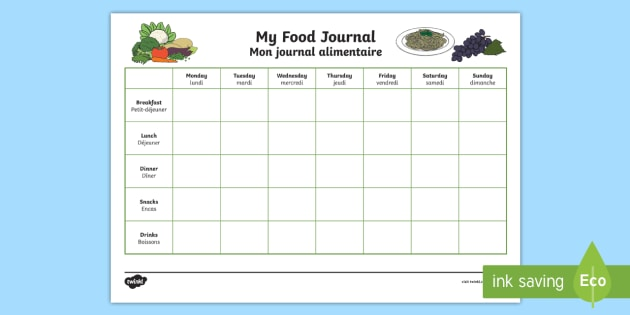 healthy eating my food journal worksheet activity sheet
