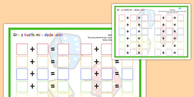 Gra z kostką Dodawanie po polsku - matematyka