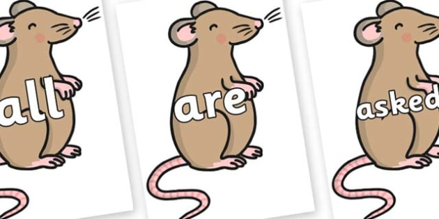 Tricky Words on Mouse - Tricky words, DfES Letters and Sounds, Letters and sounds, display, words