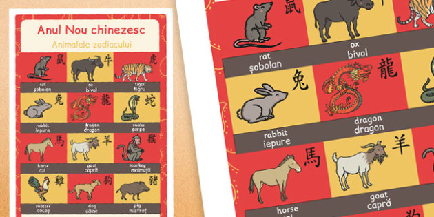 Chinese New Year Animals of the Zodiac Display Poster Romanian Translation - romanian, chinese new year, animals, zodiac, display poster, display, poster