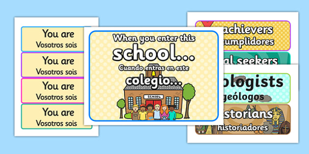 When You Enter this School Display Pack Spanish Translation - spanish, display, pack, school