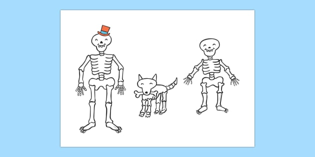Stick Puppets to Support Teaching on Funnybones - Funny Bones, Janet and Alan Ahlberg, story, story book, story book resources, story sequencing, story resources, skeleton, our body, all about me, stick puppet