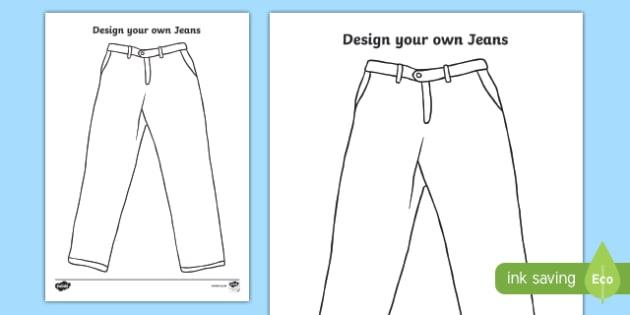 KS1 'Jeans for Genes Day' Design Your Own Jeans Activity Sheet, worksheet