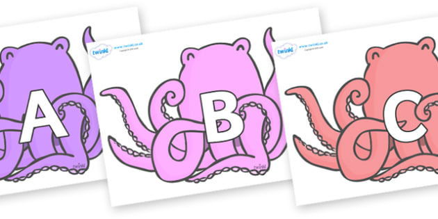 A-Z Alphabet on Octopus to Support Teaching on The Rainbow Fish - A-Z, A4, display, Alphabet frieze, Display letters, Letter posters, A-Z letters, Alphabet flashcards