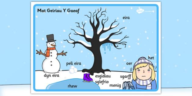 Winter Scene Word Mat Welsh Translation - winter, scene, welsh
