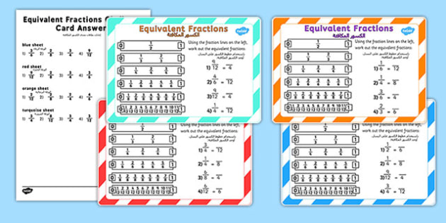 Equivalent Fractions Challenge Cards Arabic Translation - arabic, fraction, numeracy, maths