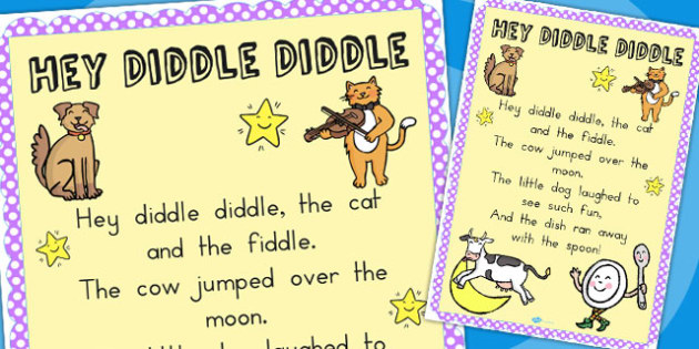 Hey Diddle Diddle Nursery Rhyme Poster A2 - display, posters