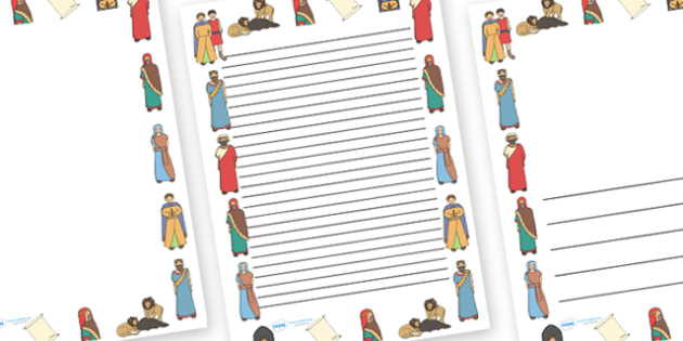 Daniel And The Lions Den Page Borders - Daniel and the Lions, Daniel, Lions, lion pit, page border, border, writing template, writing aid, writing, Babylon, King Darius, governors, God, pray, den, bible story, bible