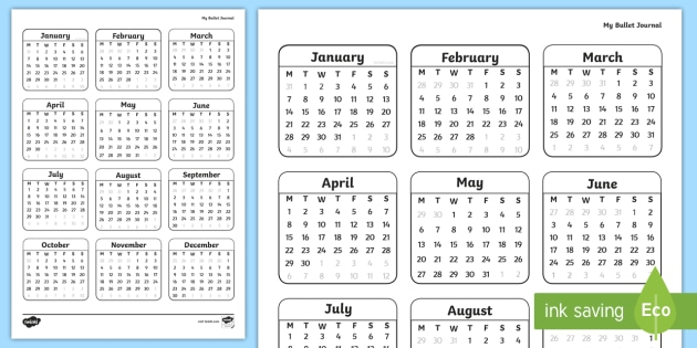 year on a page calendar
