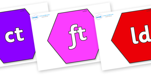 Final Letter Blends on Hexagons - Final Letters, final letter, letter blend, letter blends, consonant, consonants, digraph, trigraph, literacy, alphabet, letters, foundation stage literacy