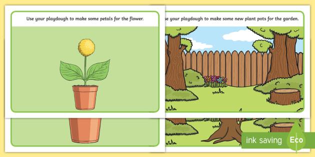 Garden Playdough Mats - Garden, park, mat, activity, playdough, garden design, flowers, trees, pond, plants, growth