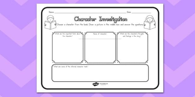 Character Investigation Comprehension Worksheet - australia