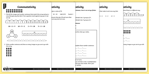 Exploring Commutativity Differentiated Activity Sheets - Multiplication and Division, arrays, part whole diagrams, reasoning, writing number sentences, repea
