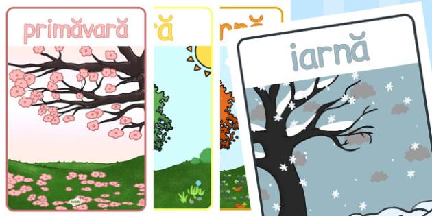 Anotimpurile - Planșă - anotimpuri, planșă, iarna, primăvara, vara, toamna, de afișat, materiale, materiale didactice, română, romana, material, material didactic