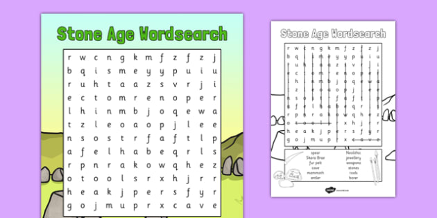 Stone Age Wordsearch - stone age, wordsearch, word, search, stone