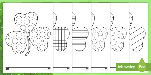 FREE! - St Patrick\'s Day Patterned Shamrock Coloring Sheets