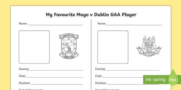 My Favourite Mayo v Dublin Player Activity Sheet-Irish, worksheet
