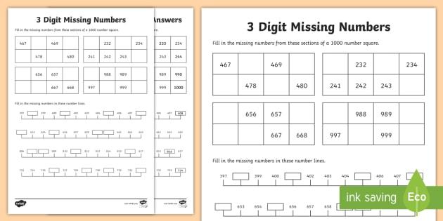 * NEW * 3-Digit Missing Numbers Worksheet