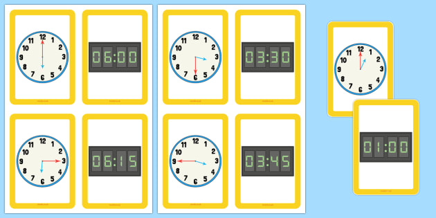 Analogue Digital Clocks Matching Cards - clock, numbers, to