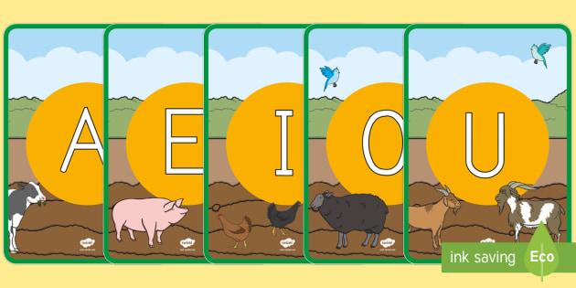 Tarjetas de fonemas - vocales: En la granja - En la granja, transcurricular, proyecto, animales, vaca, cerdo, oveja, pato, caballo, cabra, burro,