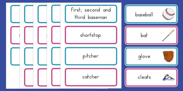 Baseball Vocabulary Cards - usa, baseball, mlb, major league baseball, vocabulary cards
