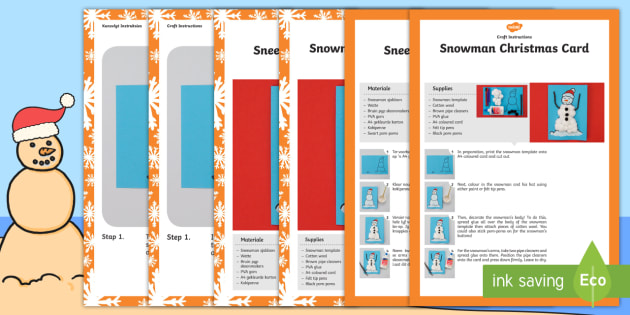 Snowman Christmas Card Craft Instructions English Afrikaans