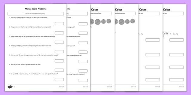 Money Activity Sheets Pack - money, activity sheets, pack, activity, sheets, worksheet
