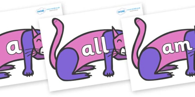 Foundation Stage 2 Keywords on Purple Cat to Support Teaching on Brown Bear, Brown Bear - FS2, CLL, keywords, Communication language and literacy,  Display, Key words, high frequency words, foundation stage literacy, DfES Letters and Sounds, Letters