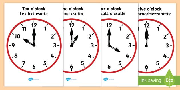 Analogue Clocks Hourly O' Clock Italian Translation English
