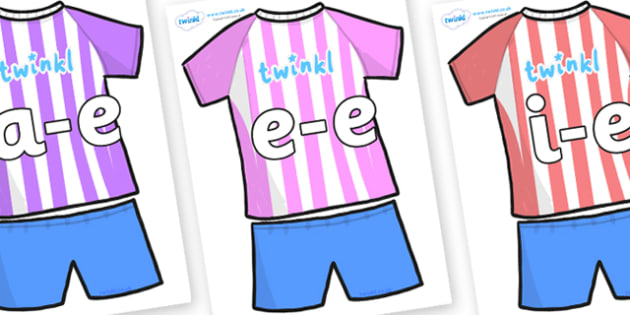 Modifying E Letters on Football Strip - Modifying E, letters, modify, Phase 5, Phase five, alternative spellings for phonemes, DfES letters and Sounds