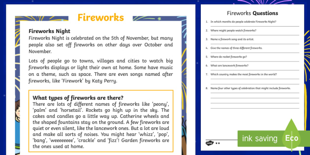 KS1 Fireworks Differentiated Reading Comprehension Activity